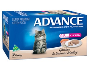ADVANCE KITTEN 85G MULTIPACK CHICKEN AND SALMON 